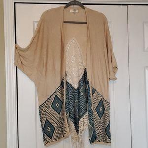 Umgee tan and teal embroidered kimono sweater euc